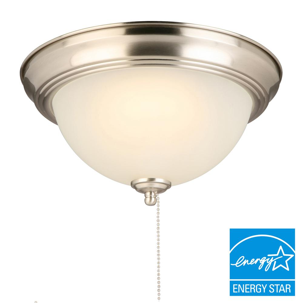 Hampton bay 11 in 60 watt equivalent brushed nickel integrated led 60 watt equivalent brushed nickel integrated led flushmount with pull aloadofball Image collections