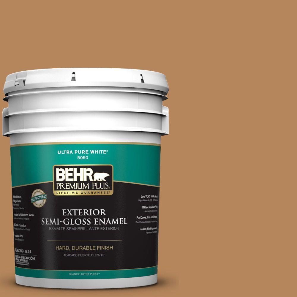 BEHR Premium Plus 5-gal. #S270-6 Almond Brittle Semi-Gloss Enamel Exterior Paint