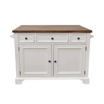 Hamilton White Kitchen Island with Drop Leaf