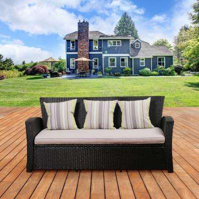 Atlantic Bradley Black Synthetic Patio Wicker Sofa with Light Grey Cushions