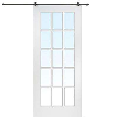 36 in. x 80 in. Primed Composite Clear Glass 15-Lite Barn Door with Matte Black Sliding Door Hardware Kit