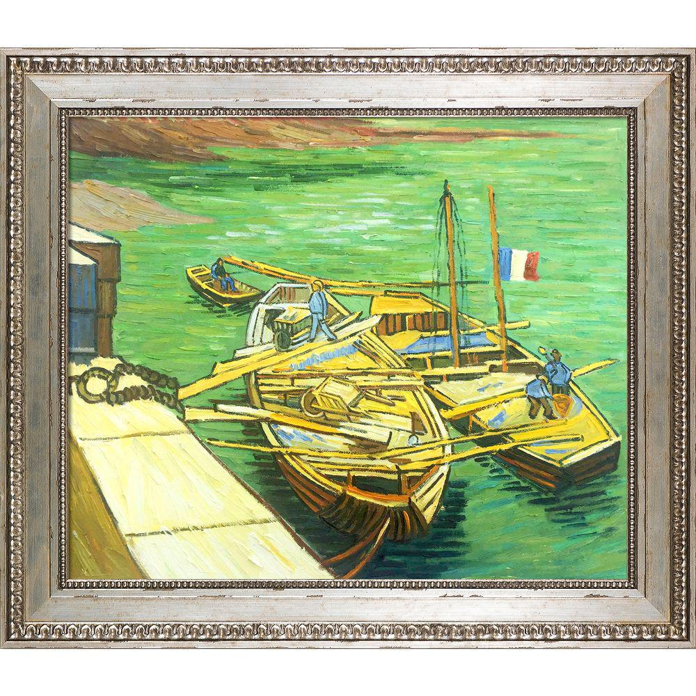 LA PASTICHE Boats Du Rhone with Versailles Silver Kingby Vincent Van Gogh Framed Abstract Wall Art 26 in. x 30 in., Multi-Colored was $804.0 now $428.4 (47.0% off)