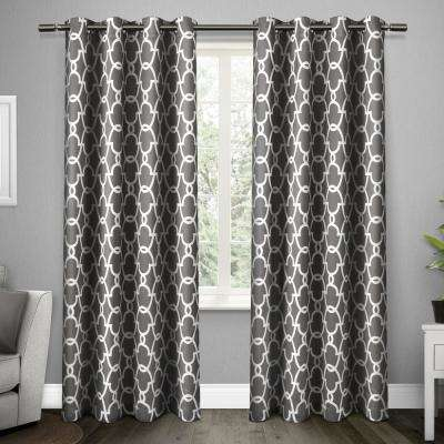 Gates 52 in. W x 84 in. L Woven Blackout Grommet Top Curtain Panel in Black Pearl (2 Panels)