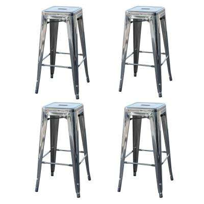 Loft Style 30 in. Stackable Metal Bar Stool in Chrome Silver (Set of 4)