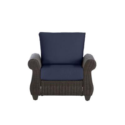 Mill Valley Brown Wicker Outdoor Patio Lounge Chair with CushionGuard Midnight Navy Blue Cushions