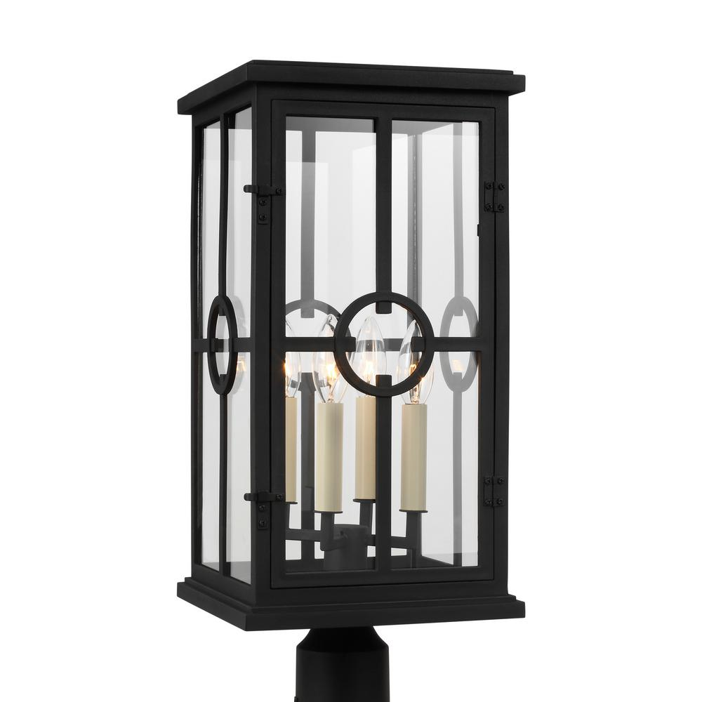 Feiss Belleville 9.5 in. W 4-Light Textured Black Outdoor Post Light with Clear Glass Panels