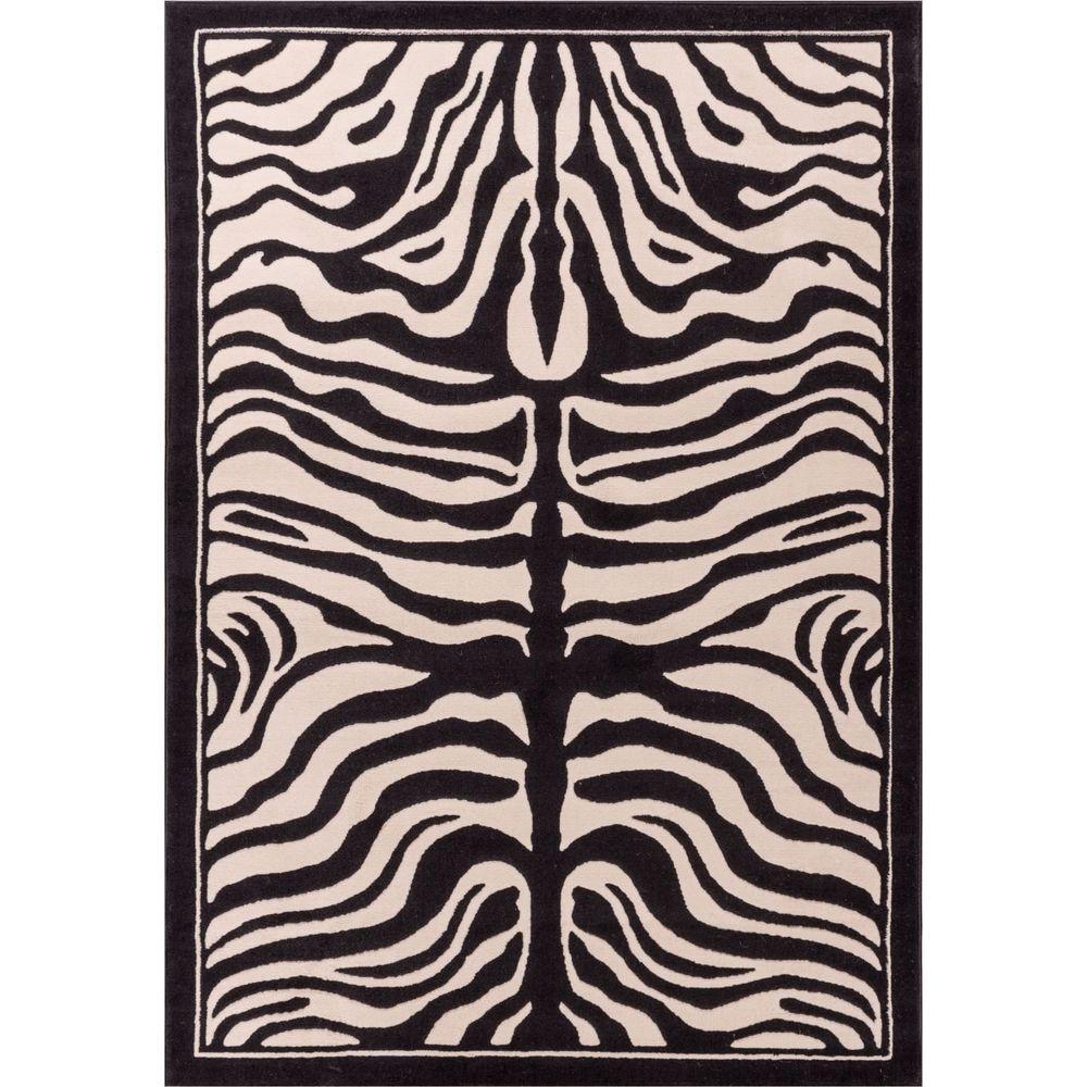 Dulcet Zebra Ivory 9 ft. x 13 ft. Animal Print Area Rug