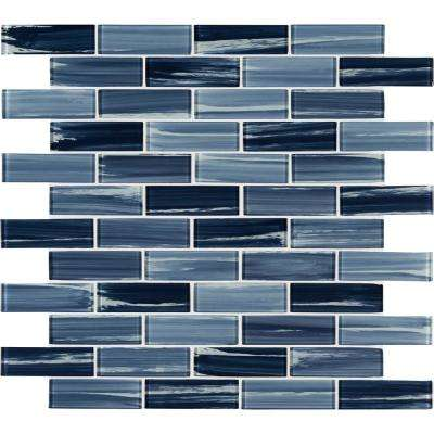 Oceania Azul Subway 11.75 in. x 12 in. x 8 mm Glass Mesh-Mounted Mosaic Tile (0.980 sq. ft.)