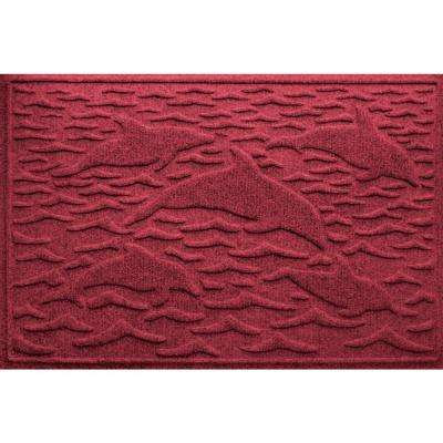 Red Black 24 in. x 36 in. Statement of Porpoise Polypropylene Door Mat