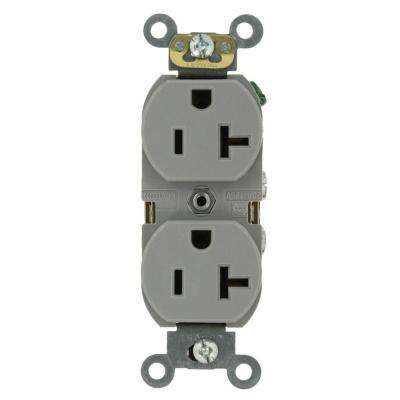20 Amp Industrial Grade Heavy Duty Self Grounding Duplex Outlet, Gray