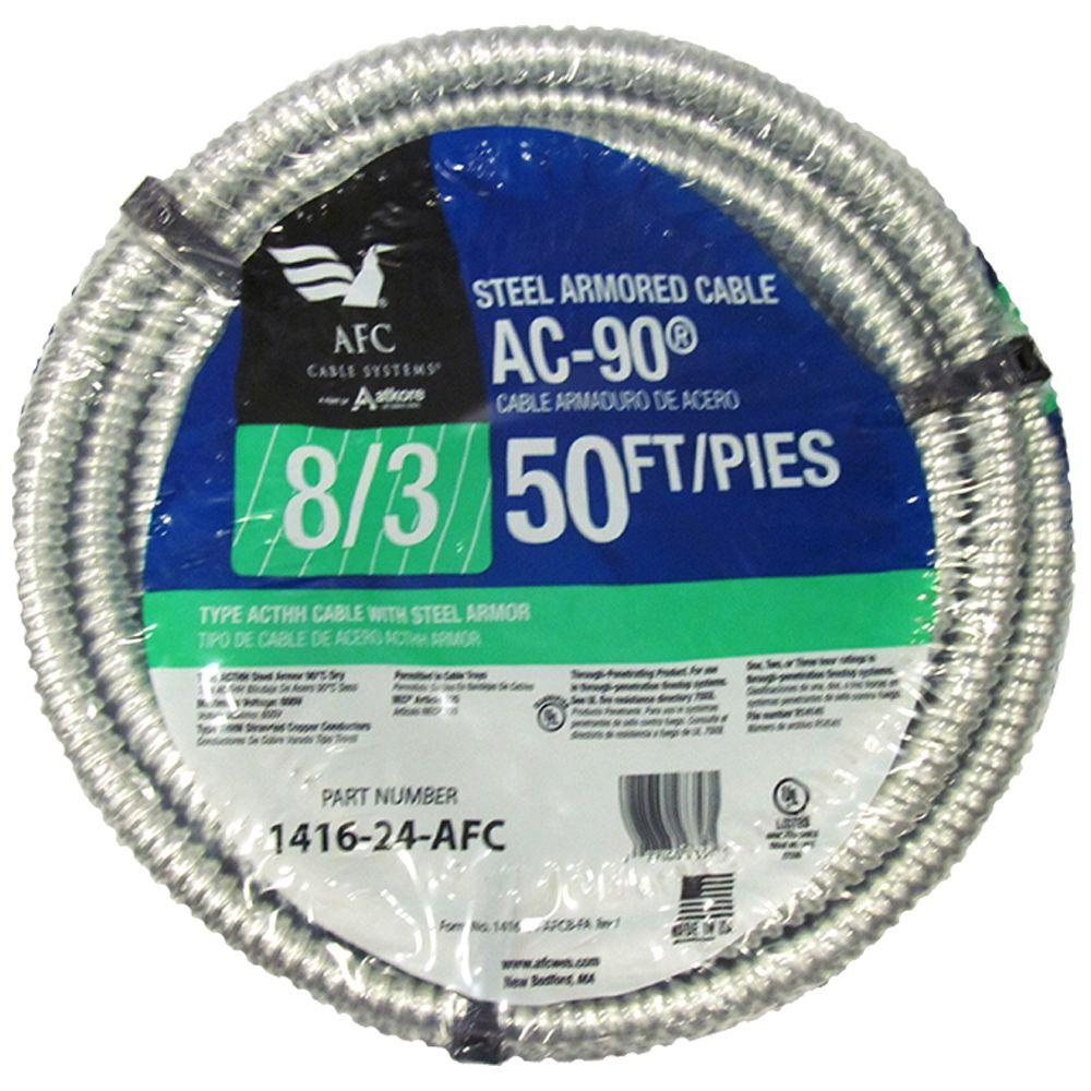 AFC Cable Systems 8/3 x 50 ft  BX/AC-90 Stranded Cable
