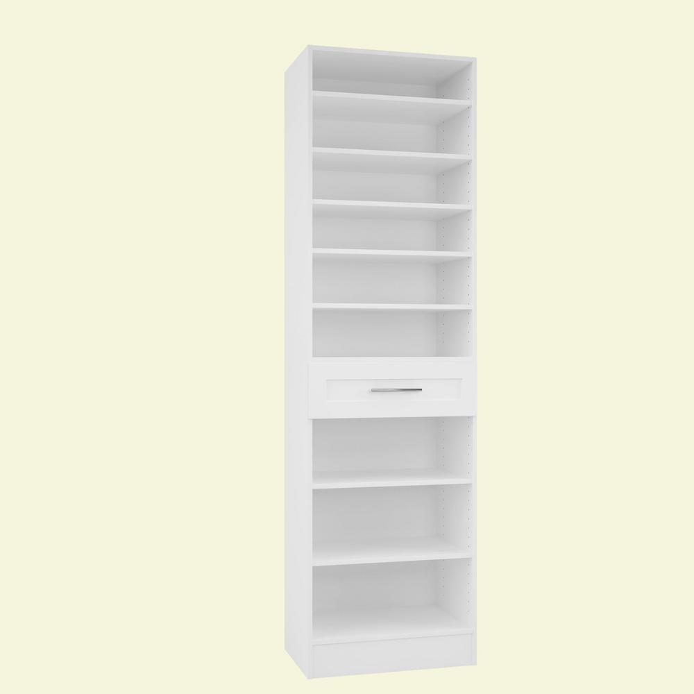 Home Decorators Collection 15 in. D x 24 in. W x 84 in. H Bergamo Bianco Melamine with 9-Shelves and Drawer Closet System Kit