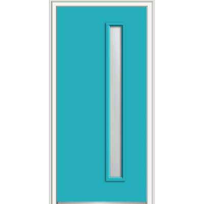 32 in. x 80 in. Viola Right-Hand Inswing 1-Lite Frosted Midcentury Painted Fiberglass Smooth Prehung Front Door