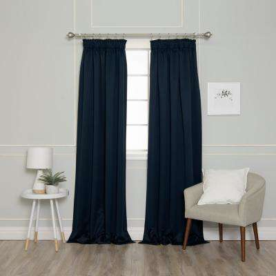 84 in. L Pencil Pleat Blackout Curtains in Navy (2-Pack)