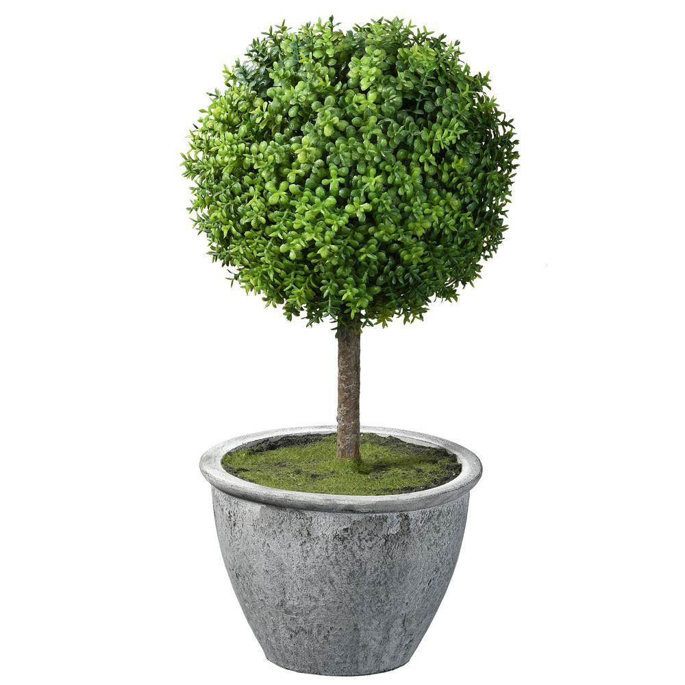 14 in. Single Ball Topiary in Gray Pot
