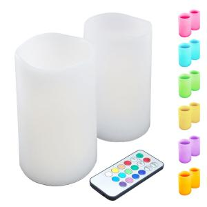 Click here to buy Lumabase 3 inch Multicolor Remote Control Candle (Set of 2) by Lumabase.