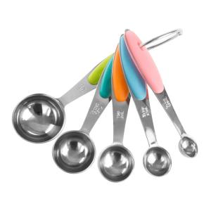 5-Piece Stainless Steel with Silicone Measuring Spoon Set