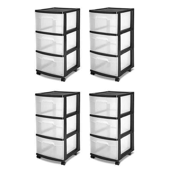 Sterilite 3-Drawer Storage Cart, Clear with Black Frame (4-Pack)