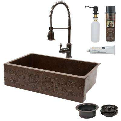 All-in-One Farmhouse Apron-Front Copper 35 in. 0-Hole Single Basin Kitchen Sink with Scroll Design in Oil Rubbed Bronze