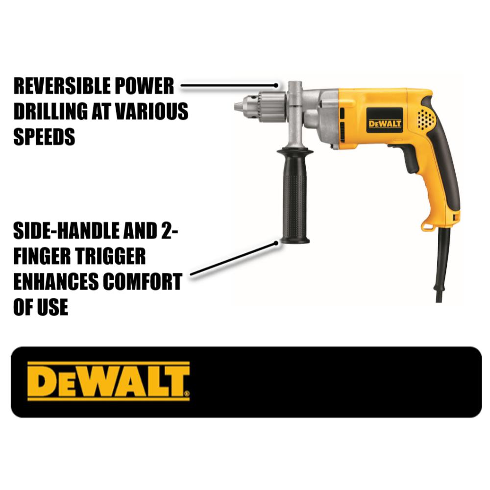Dewalt 7 8 Amp Cored 1 2 In Variable Speed Reversing Drill Dw235g The Home Depot