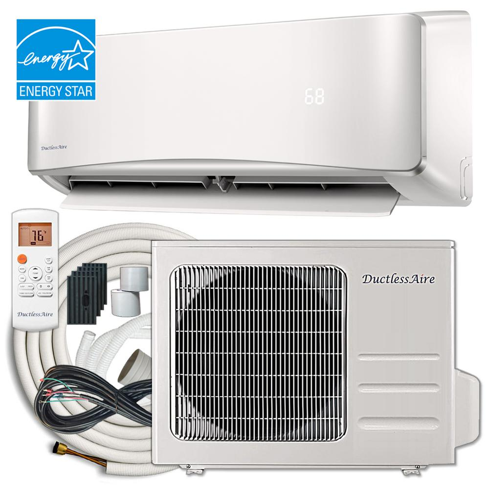 Ductlessaire energy star 18 000 btu 1 5 ton ductless mini for 18000 btu ac heater window unit