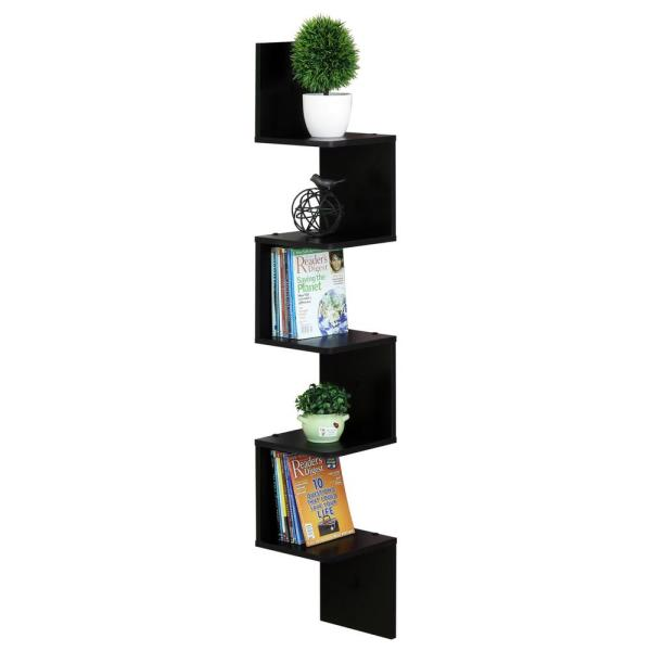 Furinno Espresso 5-Shelf Square Corner Shelf