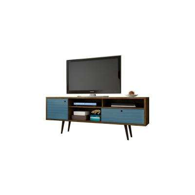 Liberty Rustic Brown and Aqua Blue Entertainment Center