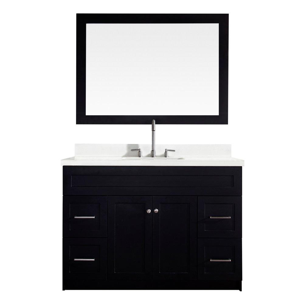 Ariel Hamlet 49 in. Bath Vanity in Black with Quartz Vanity Top in White with White Basin and Mirror