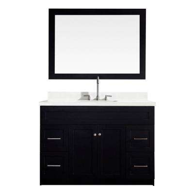 Hamlet 49 in. Bath Vanity in Black with Quartz Vanity Top in White with White Basin and Mirror