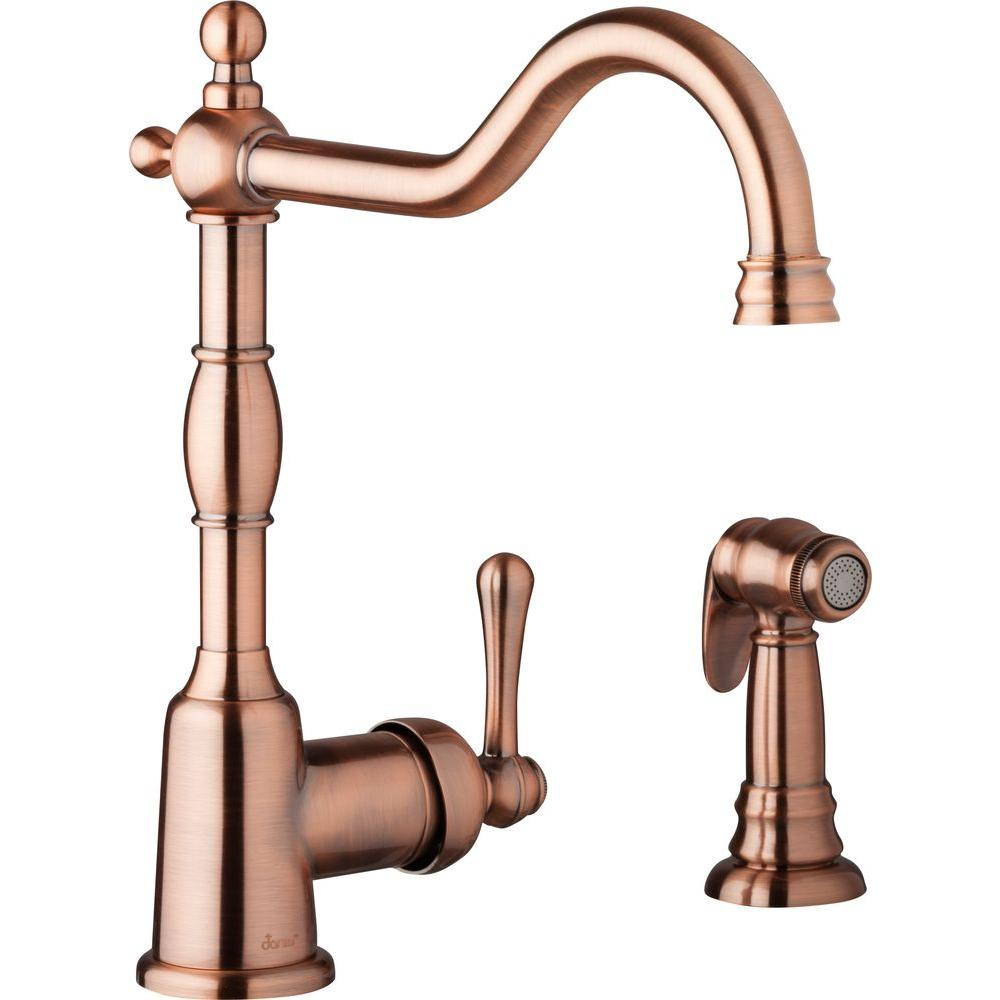 Danze Opulence Single Handle Standard Kitchen Faucet With Side Spray In Antique Copper D401157ac