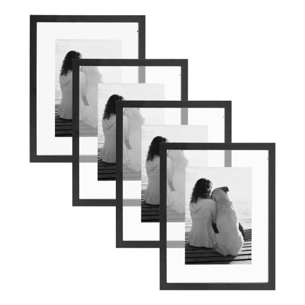 Gallery 11 in. x 14 in. Float Black Picture Frame (Set of 4)