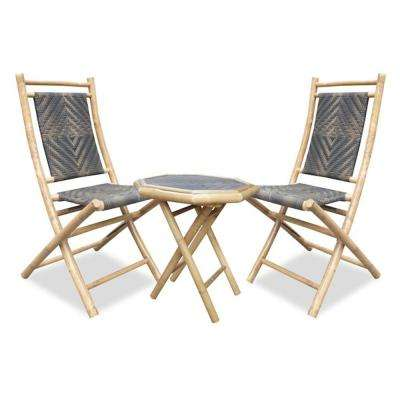 Shelly Natural and Brown Paint 3-Piece Bamboo Patio Conversation Set