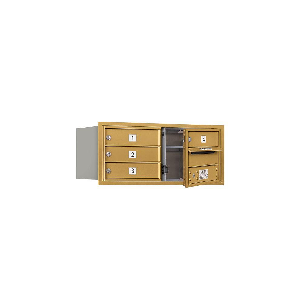 Salsbury Industries 3700 Series 13 in. 3 Door High Unit Gold USPS Front Loading 4C Horizontal Mailbox with 4 MB1 Doors