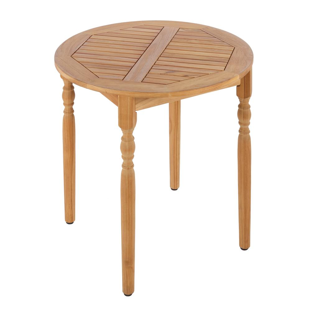Hampton bay old town teak patio bistro table ktot 3231 hdp the home depot Home depot teak patio furniture