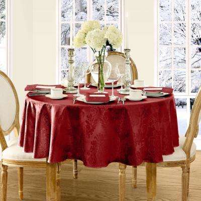 70 in. Round Red Elrene Barcelona Damask Fabric Tablecloth