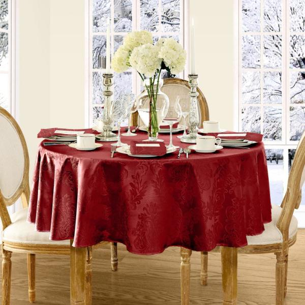 Elrene 70 in. Round Red Elrene Barcelona Damask Fabric Tablecloth 21039RED