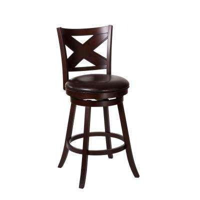 Ashbrook 25.75 in. Cherry Swivel Cushioned Counter Stool