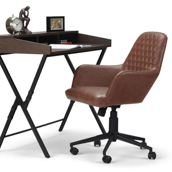 Simpli Home Goodwin Distressed Cognac Swivel Adjustable Executive Computer Office Chair Axcochr 07 The Home Depot