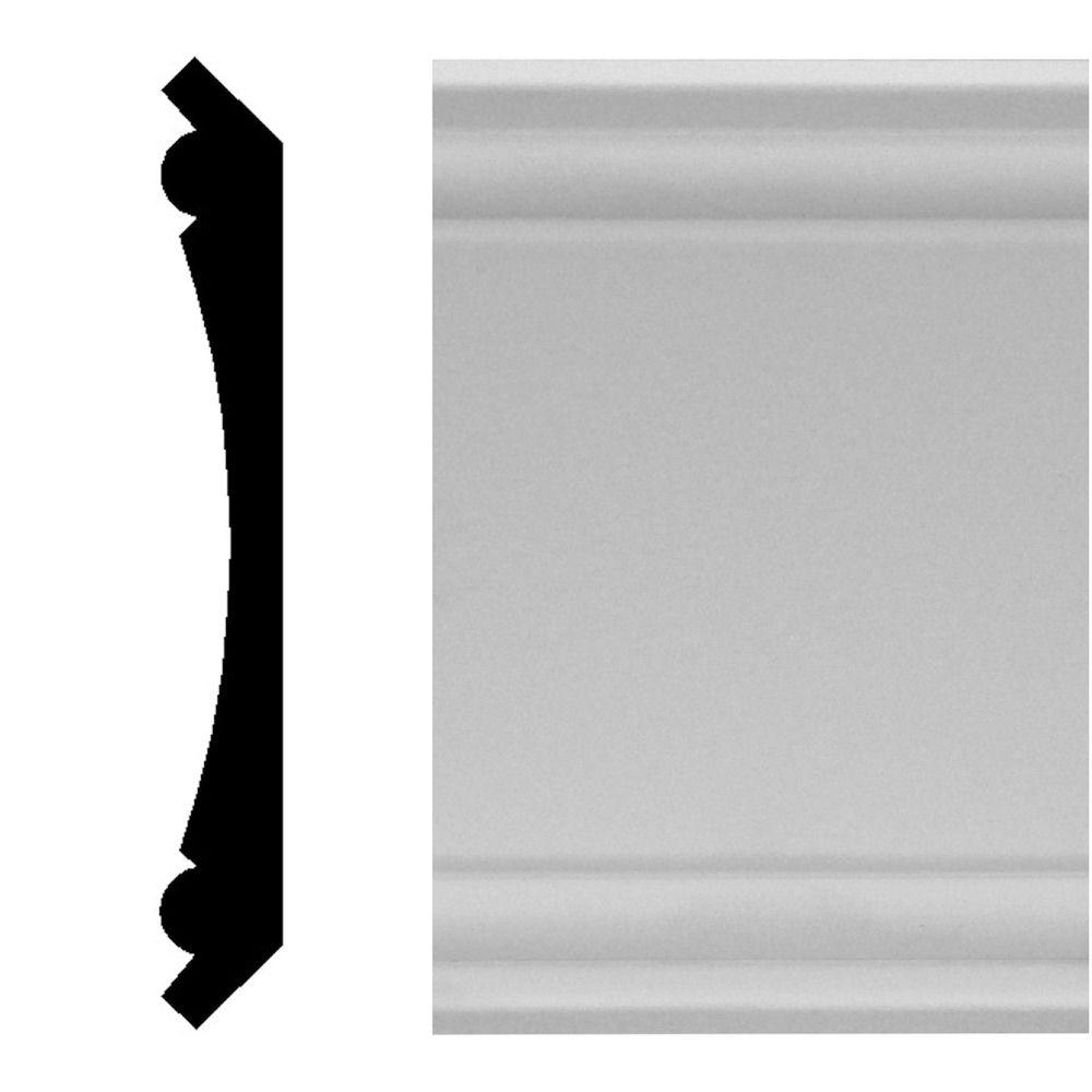 House of Fara 3/4 in. x 5-1/4 in. x 96 in. MDF Primed Crown Moulding