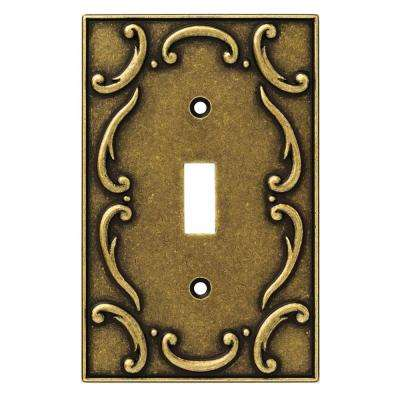French Lace Decorative Single Switch Plate, Burnished Antique Brass