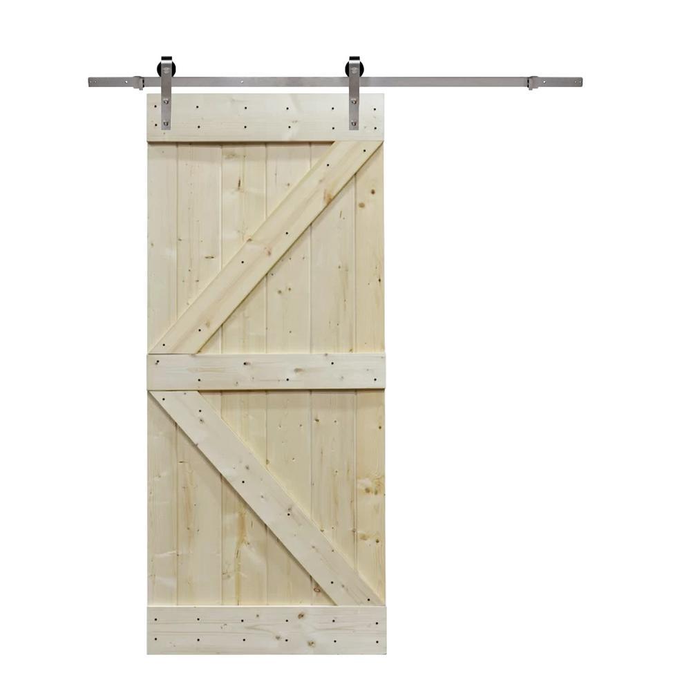36 in. x 84 in. K Design Knotty Pine Wood Barn Door with Sliding Door Hardware Kit
