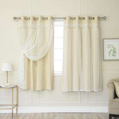 Beige 63 in. L Elis Lace Overlay Blackout Curtain Panel (2-Pack)