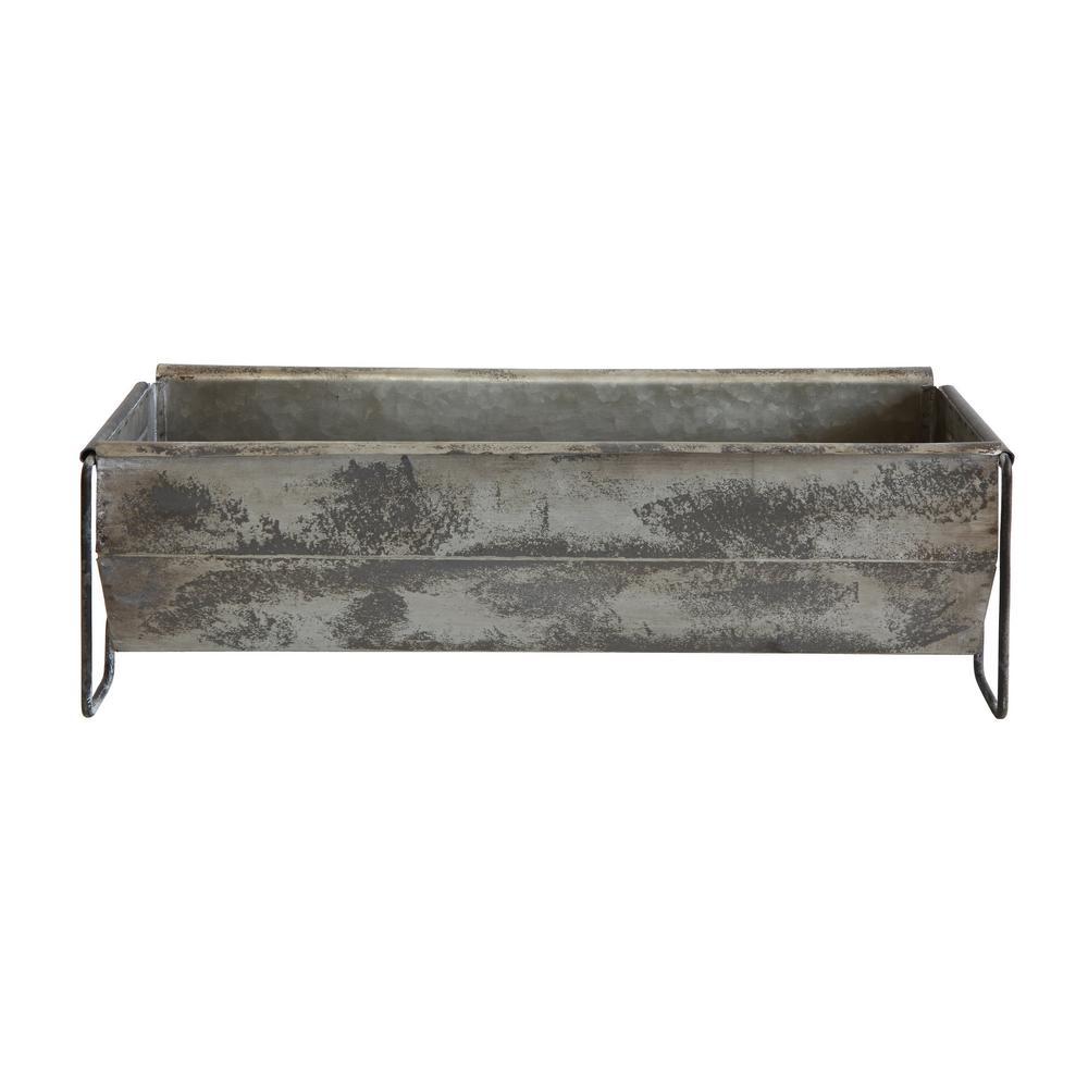 Distressed Metal Decorative Trough, Gray