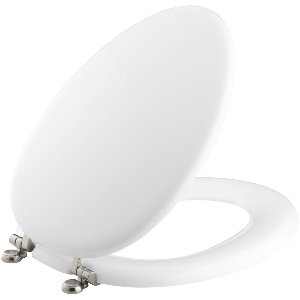 KOHLER Kathryn Elongated Closed-Front Toilet Seat in White-K-4701-BN ...