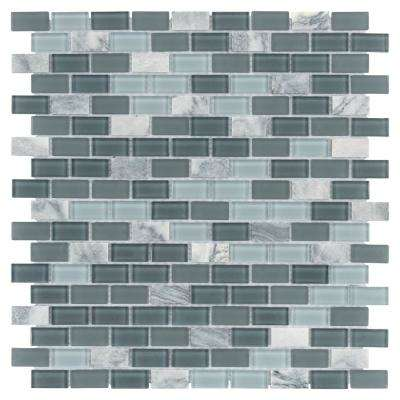 Spectrum Mini Subway Fortress 11-1/4 in. x 11-3/4 in. x 4 mm Glass and Stone Mosaic Tile