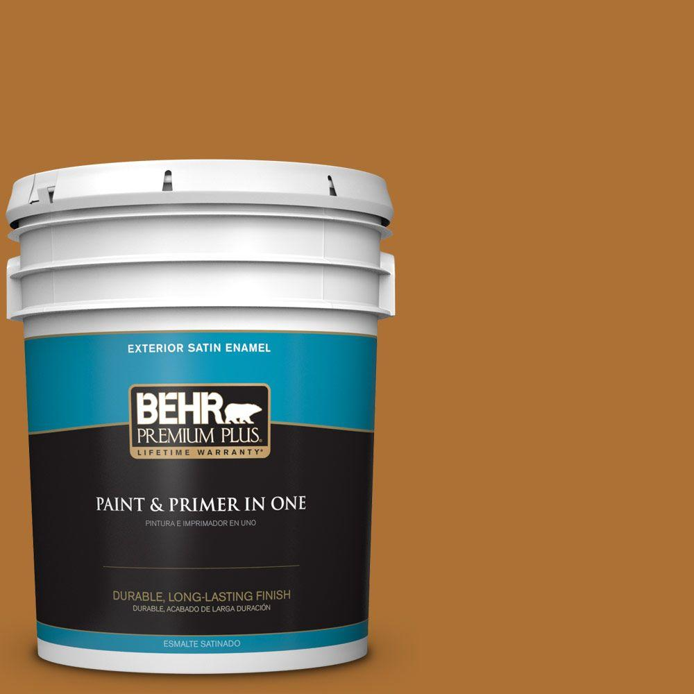 BEHR Premium Plus 5-gal. #S-H-320 Enchanting Ginger Satin Enamel Exterior Paint