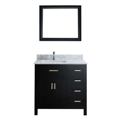 Kalize 36 in. Vanity in Espresso with Marble Vanity Top in Carrara White and Mirror