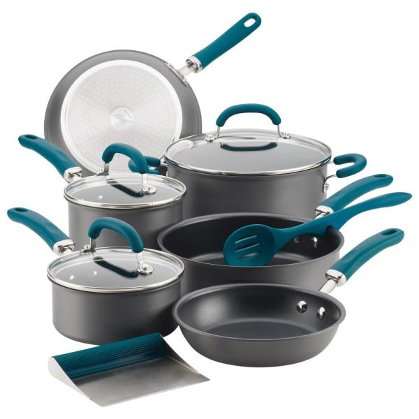 Rachael Ray Create Delicious 11-Piece Teal Handles Hard-Anodized Aluminum