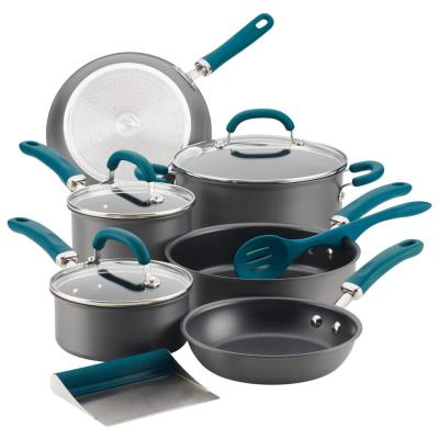 Create Delicious 11-Piece Teal Handles Hard-Anodized Aluminum Nonstick Cookware Set