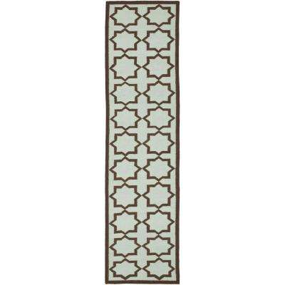 Dhurries Light Blue 2 ft. 6 in. x 6 ft. Rug Runner